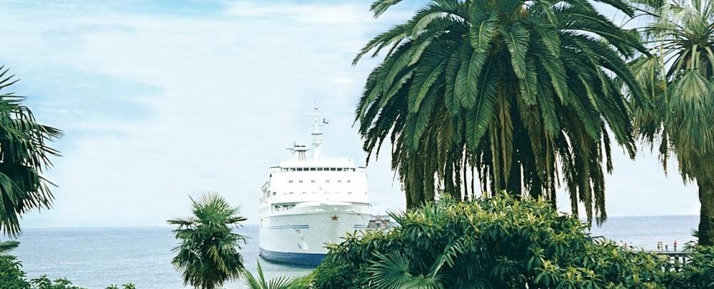 фото с пальмой и кораблем