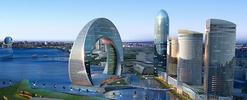 фотография с видом на Баку